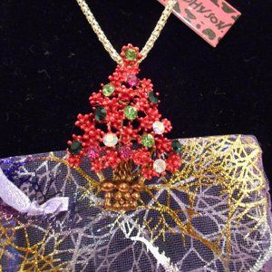 Betsey Johnson Red Berry Christmas Tree Necklace